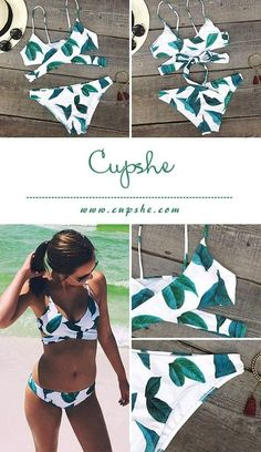Live life on the beach~ This fashion Fresh leaves printing swimwear will be the best fitting you have ever worn! Front cross and the dangerously tie at back will have heads turning and you are feeling like a beach star!