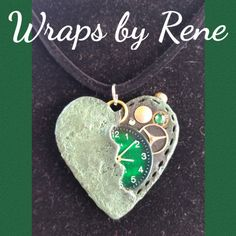 Steampunk Heart Pendant/Necklace/Heart by WrapsbyRene on Etsy