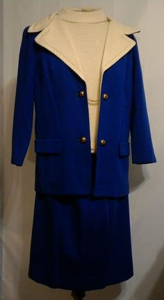 Vtg Womens Worsted Wool Jacket Suit Petite Sm Blue MARIE PHILLIPS Career 3 Piece