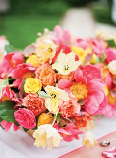 Pink, yellow and orange flowers