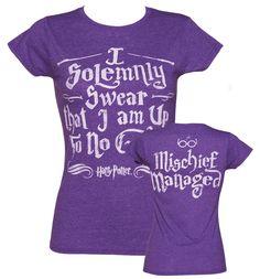 Ladies Purple Harry Potter I Solemnly Swear Mischief Managed T-Shirt : TruffleShuffle.com