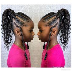 85 Box Braids Hairstyles for Black Women - Hairstyles Trends Black Kids Braids Hairstyles, Braided Ponytail Hairstyles, Braids For Black Hair, Easy Hairstyles, Braid Ponytail, Boho Braid, Little Girl Braids, Braids For Kids, Girls Braids