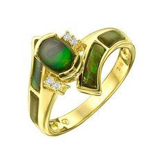 Ammolite & Diamond Ring .04 ct - Finejewelry - Bloglog