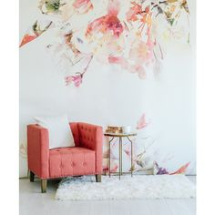 "Spring Floral Large Wall Mural, Watercolor Mural, Wallpaper, 125"" x... ($420) ❤ liked on Polyvore featuring home, home decor, wallpaper, watercolour wallpaper, spring home decor, flowered wallpaper, flower pattern wallpaper and wall home decor"