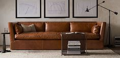 Belgian Shelter Arm Leather Sofa   Restoration Hardware