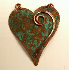 Hand Forged Rustic Copper Heart Pendant Component by SunStones
