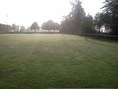 Automower 265 früh morgens beim Arbeitsbeginn... Fußballplatz in Niederhofen