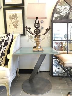 Modern Steel and Glass Top Side Table