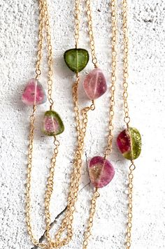 Watermelon tourmaline layering necklace gold by KahiliCreations