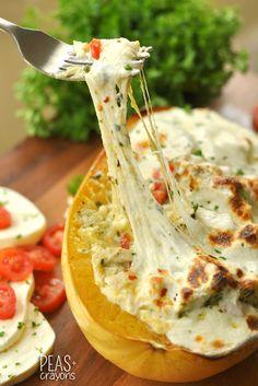 Cheesy Pesto Chicken Lasagna Stuffed Spaghetti Squash.