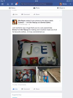 Keepsake name pillow for Joe