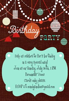 """""""Birthday Decorations""""  printable invitation template. Customize, add text and photos. Print or download for free!"""