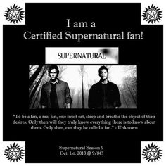 Certified Supernatural fan! Like and Repin if you are one! Spread the fandom!!