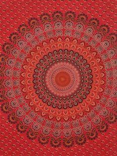Red Badmeri Mandala Peacock Twin Size Tapestry Bohemian Hippie Hand screen printed Wall Hanging Beadspread Organic Cotton