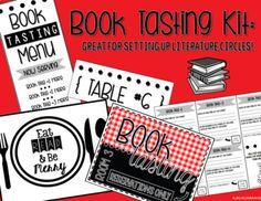 Book Tasting Kit (Book Tasting Menu - Literature Circles) by LiveLoveLessonplan Book Tasting, Tasting Menu, Reading Marathon, Library Signage, Middle School English, Literature Circles, Qr Codes, Place Mats, Read News