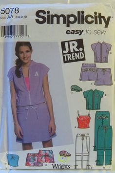 Simplicity 5078 Junior's Mini Skirt, Cropped Pants or Shorts, Hat and Knit Top and Jacket