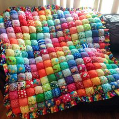 "Oh wow, this is STUNNING! Each one of her bubble quilts is better than the next one, I can't pick a favorite, but this is close!  ""Ispy Rainbow"" Bubble Quilt by MichellesEye."