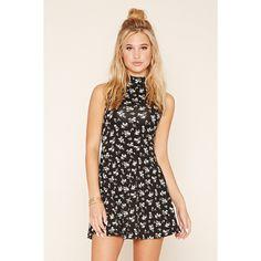 Forever 21 Women's  Mock Neck Floral Skater Dress ($11) ❤ liked on Polyvore featuring dresses, skater dress, flower print dress, pink floral dress, mock neck skater dress and floral print skater dress