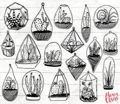 50% OFF Succulent Clipart Hand Drawn Cactus Clipart