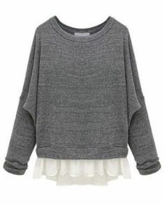 Grey Batwing Long Sleeve Contrast Chiffon Knit Sweater pictures