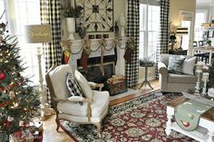 Black-ivory checked drapes, ivory and natural-so pretty