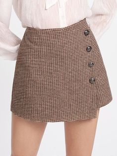SheIn offers Button Detail Plaid Wrap Shorts & more to fit your fashionable Skirt Outfits, Dress Skirt, Fall Outfits, Casual Outfits, Cute Outfits, Cute Fashion, Girl Fashion, Fashion Outfits, Cute Skirts