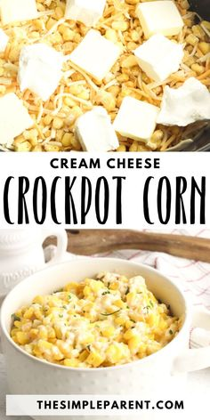 Crockpot Cream Cheese Corn.  Try this yummy slow cooker side dish! Cheesy, creamy corn can be so easy to put together.  Easy enough for a weeknight meal but delicious enough for a picnic or BBQ! #cornrecipe #corn #vegetablerecipe Party Side Dishes, Dinner Side Dishes, Easy Vegetable Side Dishes, Side Dishes Easy, Jamie Oliver, Slow Cooker Recipes, Crockpot Recipes, Casserole Recipes, Corn Recipes