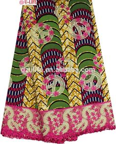 """wholesale Cotton Wax Print with cord lace fabrics, african ankara with lace embroidery"""