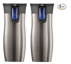 Contigo travel mugs. They vacuum seal so you can actually throw it in your bag or lay down on the car seat - so awesome!