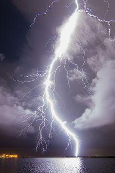 Huge Lightning Bolt over Tampa Bay by Old Boone