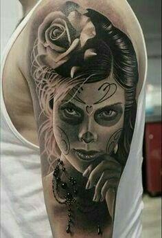 50 La Catrina Tattoo Designs For Men - Mexican Ink Ideas Tattoo Girls, Skull Girl Tattoo, Sugar Skull Tattoos, Star Tattoos, Body Art Tattoos, Girl Tattoos, Tattoo Stars, Quote Tattoos, Wolf Tattoos