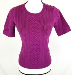 Banana Republic Womens Sweater Size Medium Purple Short Sleeve Cable Knit o1056 #BananaRepublic #Crewneck #Career