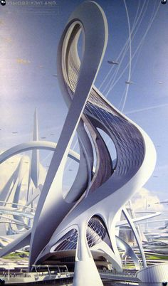 Photo of official pre-production concept art of a building in Tomorrowland. Original probably by Jonathan Bach, one of the Tomorrowland concept illustrators.