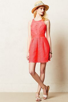Embroidered Coral Dress #anthropologie