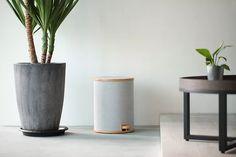 POMP pedal trash bin by gudee. Plastic Bins, Living Spaces, Living Room, Trash Bins, Stylish Home Decor, Simple Pleasures, Smart Home, Simple Style, Home Office