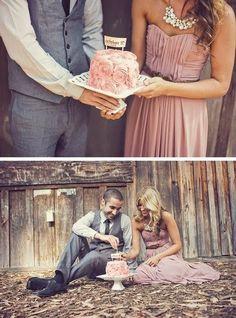 Enjoying their wedding cake on their one year anniversary