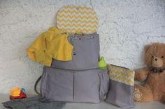 Gri Sarı Anne Bebek bakım sırt çantası ve el çantası Zet.com'da 160 TL