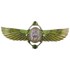 Plique-a-Jour Scarab With Outstretched Wings.  Brooch is Circa 1920 Egyptian Revival