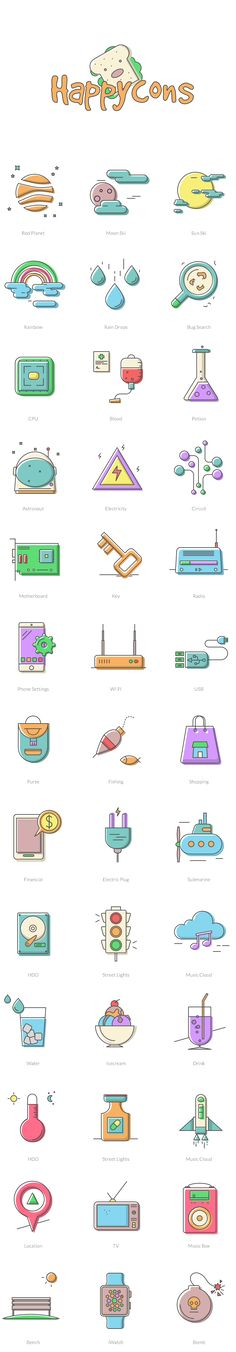 Free Icons: Happycons - 40 Happy and Unique Icons by uiSurf Design Ios, Icon Design, Logo Design, Flat Design, Stickers Design, Cute Icons, App Icon, Flat Illustration, Line Icon