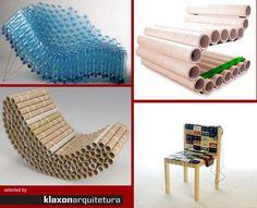 Essas são as cadeira feitas por objetos recicláveis