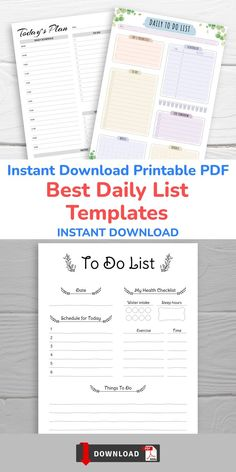 This collection of Daily List Templates contains all you need to organize your own Perfect year. These planners allow you to stay on track with all you need to do. Planning can make your life easier. Daily Schedule Template, List Template, Planner Template, Daily List, Weekly Hourly Planner, To Do Lists Printable, Business Planner, How To Plan, Planners