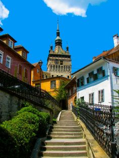 Clock Tower, Sighisoara in Transylvania Romania birth place of Vlad Dracula. Transylvania Romania, Medieval Town, Eastern Europe, Historical Sites, Beautiful Places, Scenery, Around The Worlds, Dracula, Clock