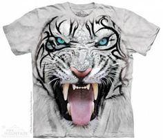 The Mountain-Shirts Tiere The Mountain Shirt - Big Face Tribal White Tiger
