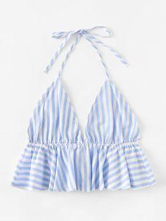 Striped Frill Hem Open Back Crop Halter Top -SheIn(Sheinside) Crop Top Outfits, Crop Top Shirts, Summer Outfits, Casual Outfits, Cute Outfits, Crop Tops, Diy Fashion, Ideias Fashion, Fashion Outfits