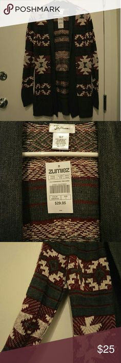NWT Zumiez Trillium Small Aztec Open Cardigan Brand new with tags. In perfect condition. Size small from Zumiez, Trillium brand. Open front cardigan with Aztec pattern throughout. Zumiez Sweaters Cardigans