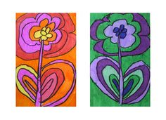 Flowers in warm and cool colors... Although I would have kids trace the same flower drawing twice :/