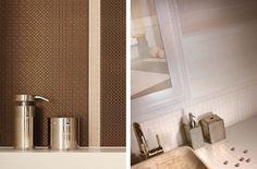 Meisha/Garam Bianco - płytki łazienkowe z drobnym wzorem geometrycznym