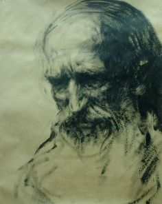 "bellver123:  "" Anatoly Shumkin. Graphics. A series of ""Old men"". Drawing eleven. 135,5х105 cm. Paper, ink. 2014  """