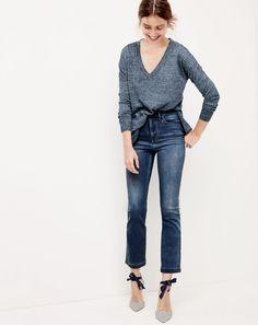 J.Crew women's merino-linen V-neck sweater, Billie demi-boot crop jean in Bergen wash and Elsie bow-tie pumps.