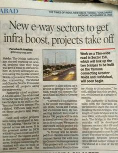 Noida Authority has started working on new e-way sectors to give infrastructure boost. Source: The Times of India
